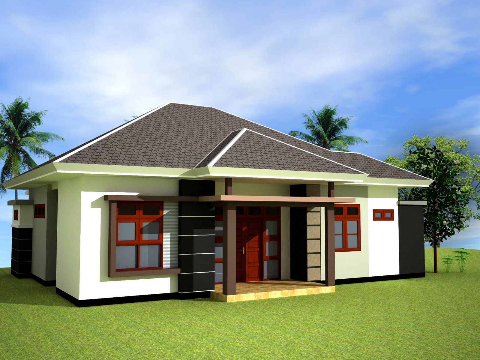 Gambar denah model rumah sederhana warna cat teras taman dll for Minimalist house type 36